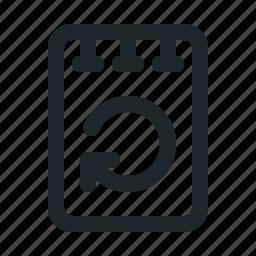 file, note, reload icon