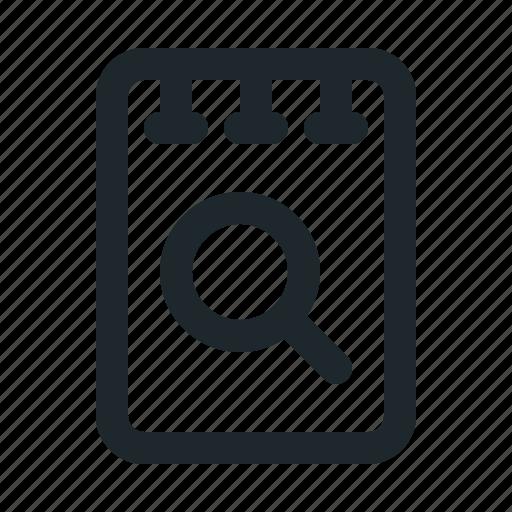 file, note, search icon