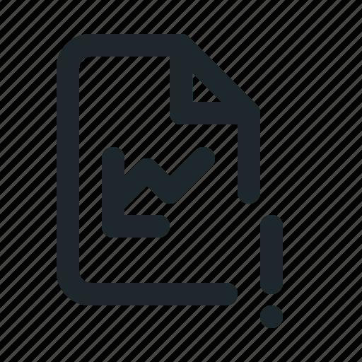 file, statistic, warning icon