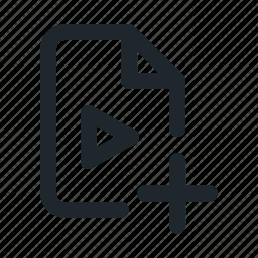 add, file, video icon