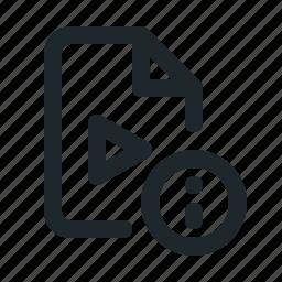 file, info, video icon