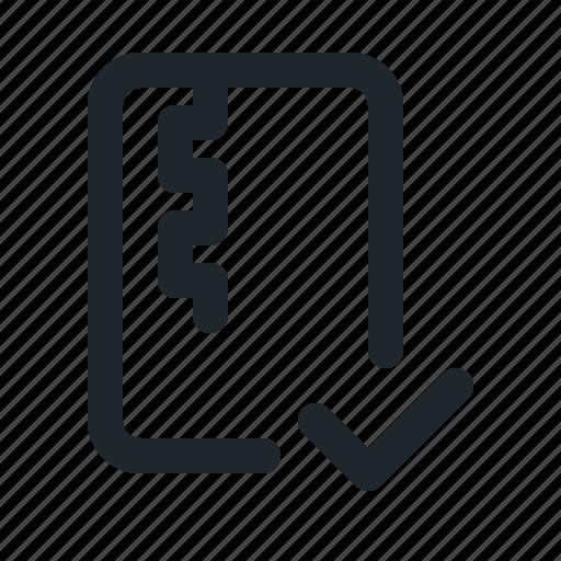 accept, file, zipped icon
