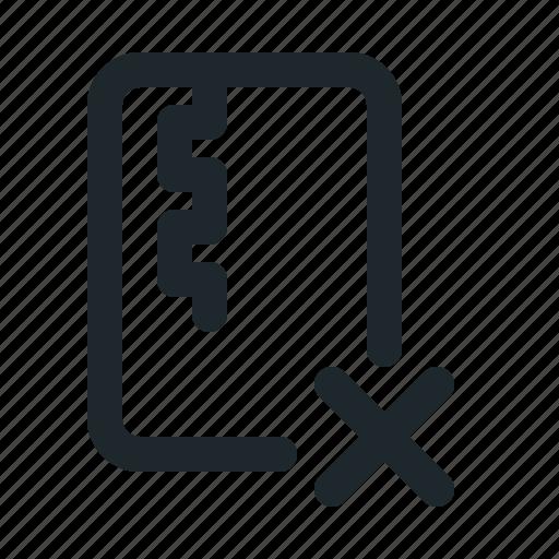 delete, file, zipped icon