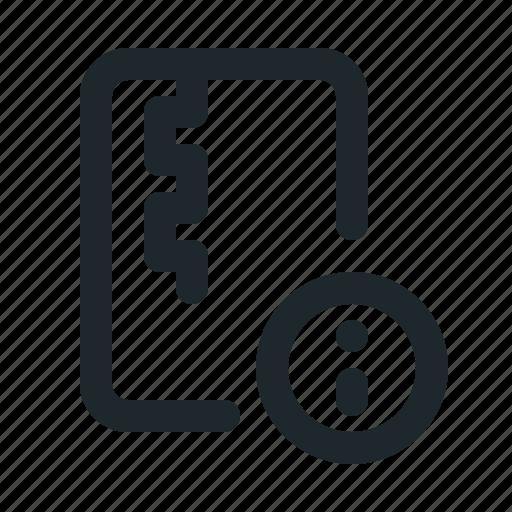 file, info, zipped icon