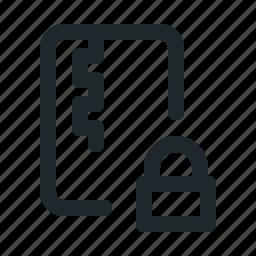 file, locked, zipped icon