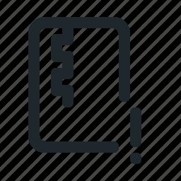 file, warning, zipped icon