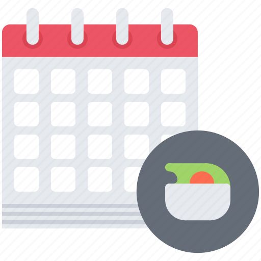 Calendar, diet, plan, raw, salad, vegan, vegetarian icon - Download on Iconfinder