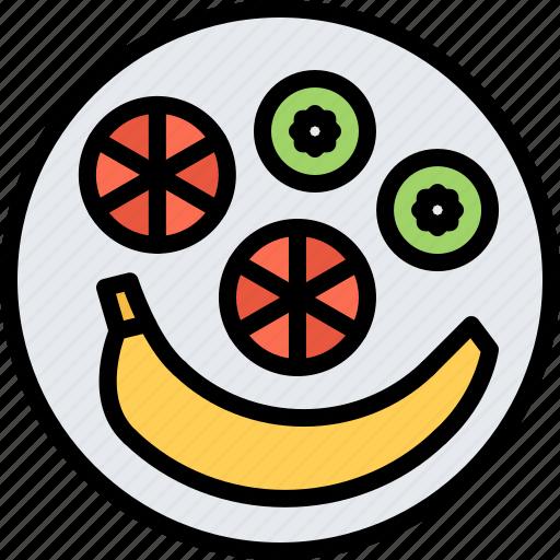 Banana, diet, kiwi, orange, raw, vegan, vegetarian icon - Download on Iconfinder