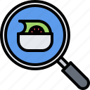 diet, magnifier, raw, search, vegan, vegetable, vegetarian icon