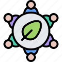 community, diet, group, leaf, raw, vegan, vegetarian icon