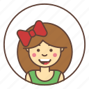 line, character, girl, head, avatar