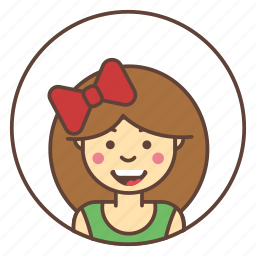 avatar, character, girl, head, line icon