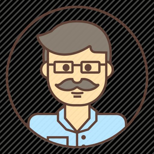 academic, avatar, mustache, scientist, sunglasses icon