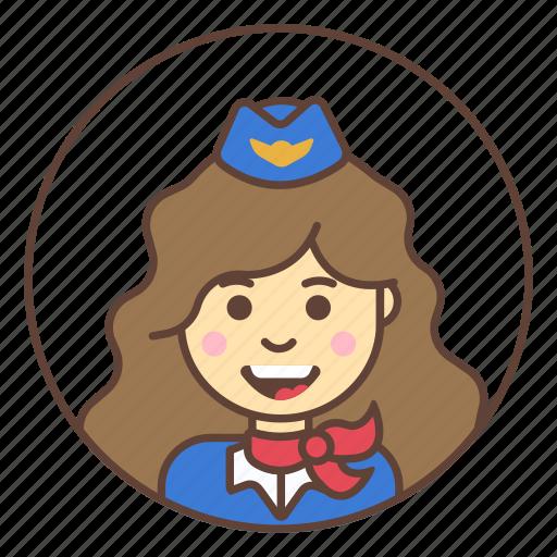 avatar, flight attendant, girl, stewardess icon