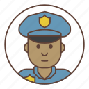 afro, avatar, man, officer, police, policeman icon