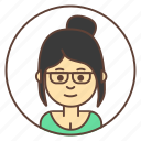 avatar, girl, glasses, hairstyle