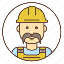 avatar, builder, constructor, mustache, worker icon
