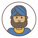 avatar, beard, headdress, indian icon