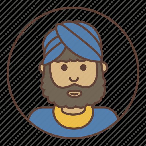 avatar, beard, headdress, indian icon