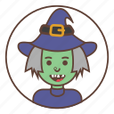 green, hat, avatar, witch
