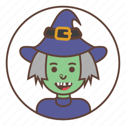 avatar, green, hat, witch icon