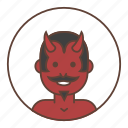 avatar, devil, horns, mustache, red