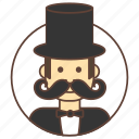 avatar, gentleman, hat, mustache icon