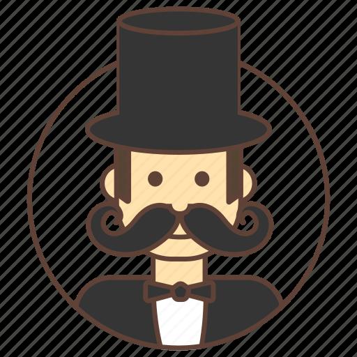 avatar, gentleman, hat, mustache icon