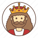 avatar, beard, crown, king icon