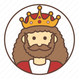 avatar, beard, crown, king icon