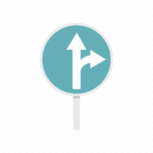 arrow, direction, post, right, road, straight, traffic icon
