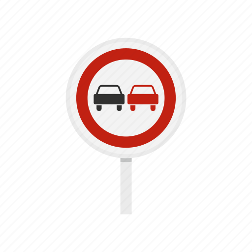 car, circle, forbidden, no, overtaking, road, traffic icon