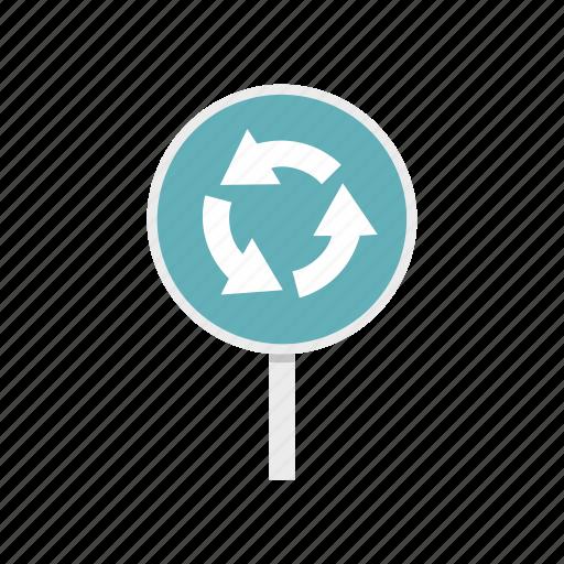 arrow, circle, circular, road, round, roundabout, traffic icon