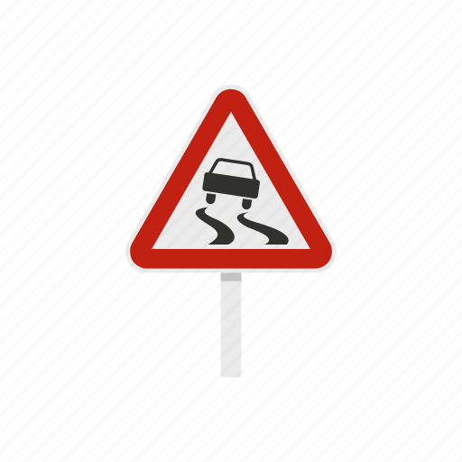 accident, car, danger, road, slippery, warning, wet icon
