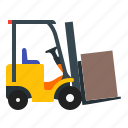 forklift, vehicle, warehouse, fork