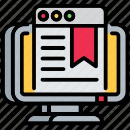 bookmark, digital, laptop, seo, site, web icon