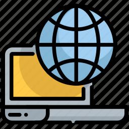 digital, earth, laptop, planet, seo, web icon