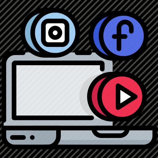 digital, laptop, multimedia, seo, social network, web icon