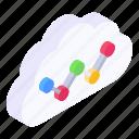 cloud analytics, cloud chart, data analytics, cloud statistics, cloud data analytics icon