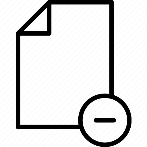 delete, document, minus, page, paper, reduce icon