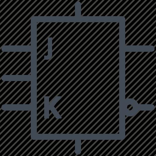 circuit, diagram, electric, electronic, flip-flop symbol, generic symbol, jk  flip-flop symbol icon