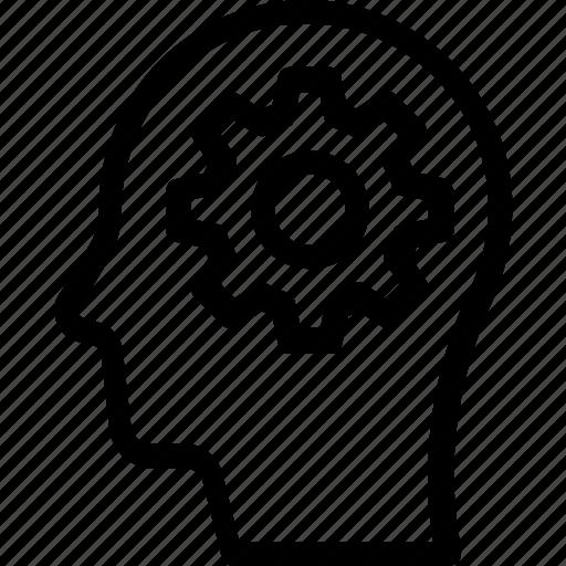 brainstorming, cog, head, mind, thinking icon
