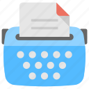 content writing, office material, stenographer, typewriter, typing icon