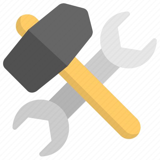 hand tools, maintenance, repair tools, service tools, wrench and hammer icon