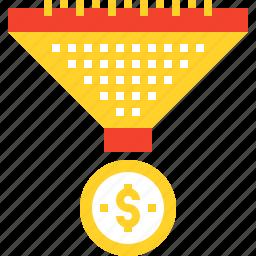 cone, conversion, funnel, marketing, money, sales, traffic icon