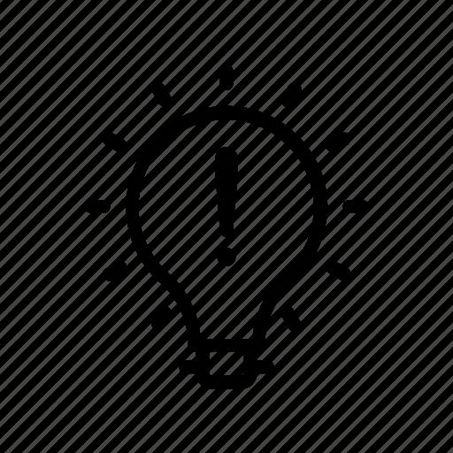 bulb, creative, error, idea, innovation icon
