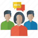 business meeting, communication, discussion, forum discussion, team conversation icon