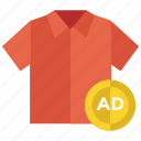 advertisement, cloth advertising, marketing, publicity, shirt advertisement icon