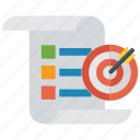 marketing report, mission, plan, target infographic, target report icon