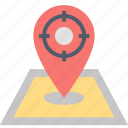 advertising, clients, location, map, pin, place, targeting icon